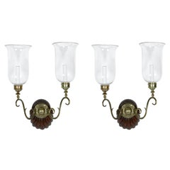 Pair of Anglo-Indian Two-Light Hurricane Sconces