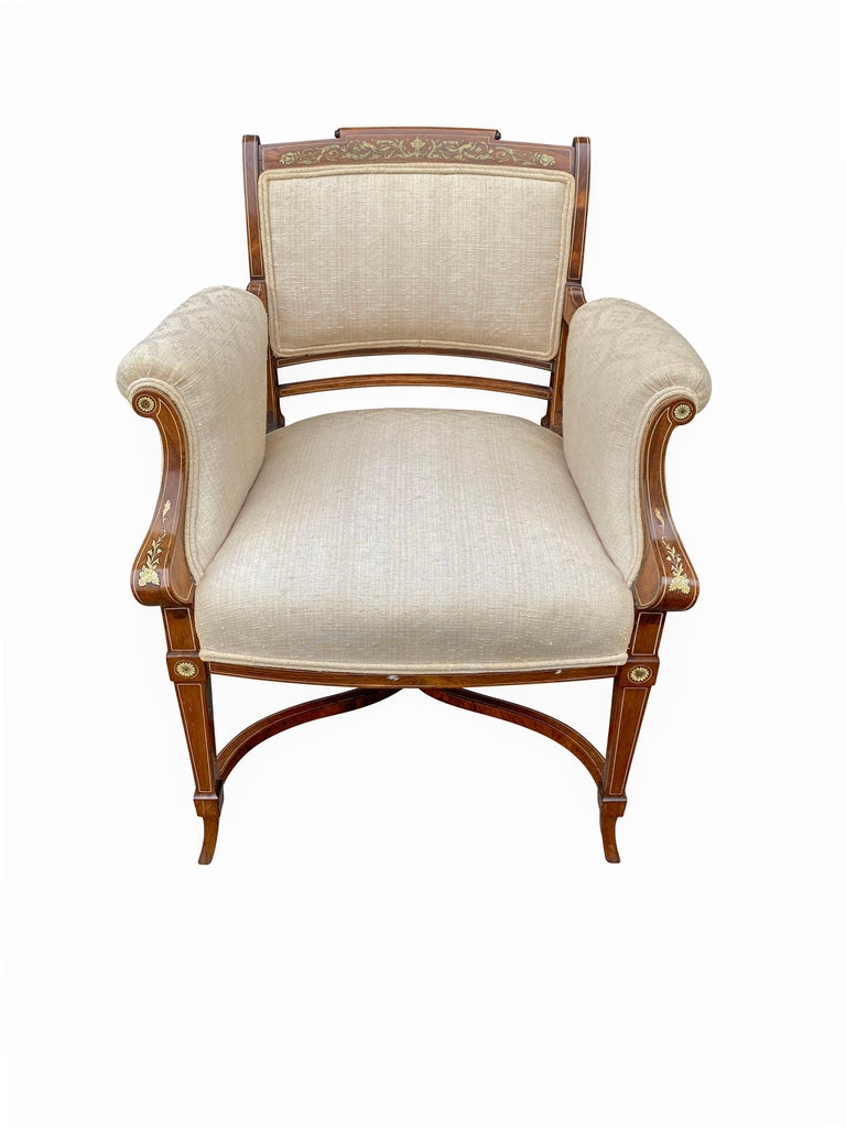 Pair of Anglo-Japanese Rosewood and Inlaid Armchairs, Collinson & Lock For Sale 7