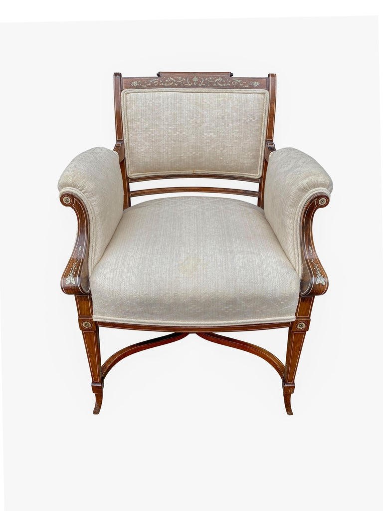 Pair of Anglo-Japanese Rosewood and Inlaid Armchairs, Collinson & Lock For Sale 8
