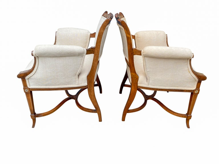 English Pair of Anglo-Japanese Rosewood and Inlaid Armchairs, Collinson & Lock For Sale
