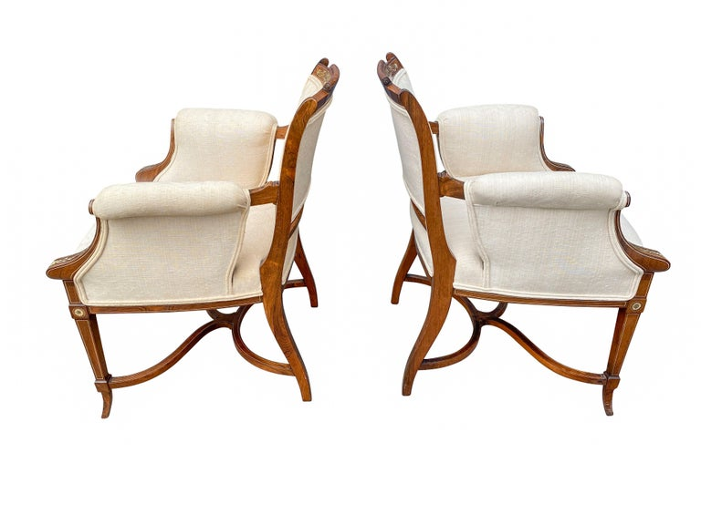 Pair of Anglo-Japanese Rosewood and Inlaid Armchairs, Collinson & Lock In Good Condition For Sale In Essex, MA
