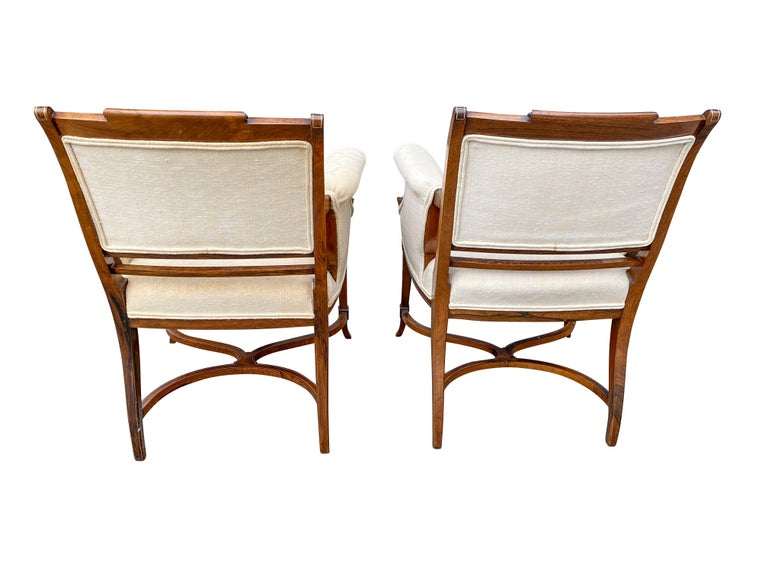 Late 19th Century Pair of Anglo-Japanese Rosewood and Inlaid Armchairs, Collinson & Lock For Sale