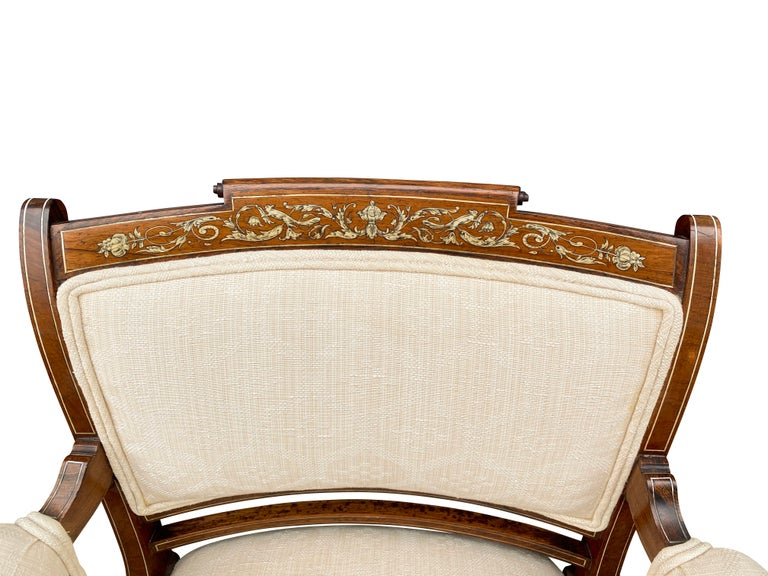 Pair of Anglo-Japanese Rosewood and Inlaid Armchairs, Collinson & Lock For Sale 1