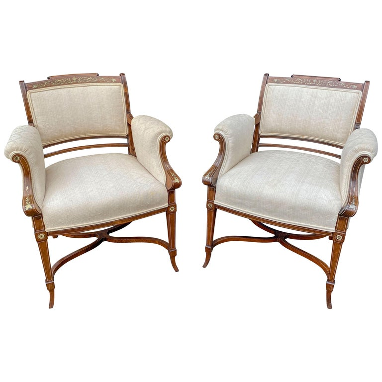 Pair of Anglo-Japanese Rosewood and Inlaid Armchairs, Collinson & Lock For Sale