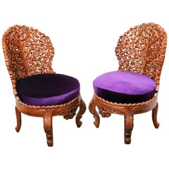 Pair of Anglo-Raj Side Lounge Chairs