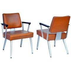 Pair of Angular GF GoodForm Aluminum and Vinyl Armchairs