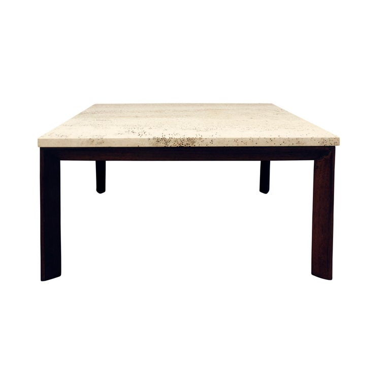 American Pair of Angular Leg Coffee Tables with Travertine Tops, 1950s For Sale