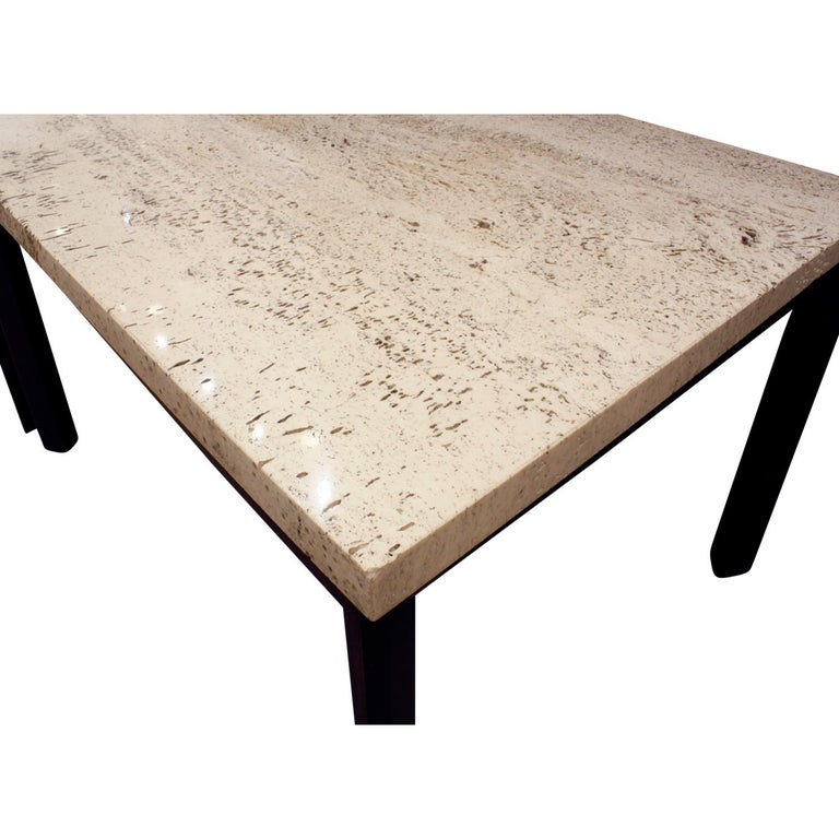 Pair of Angular Leg Coffee Tables with Travertine Tops, 1950s In Excellent Condition For Sale In New York, NY