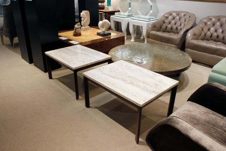 Mid-20th Century Pair of Angular Leg Coffee Tables with Travertine Tops, 1950s For Sale
