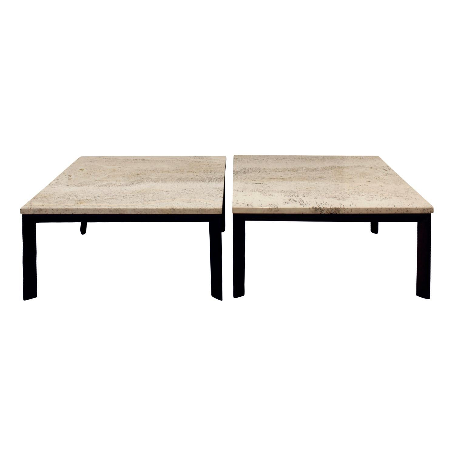 Pair of Angular Leg Coffee Tables with Travertine Tops, 1950s