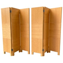 Pair of Anigre Quarter Sawn 3-Panel Screens