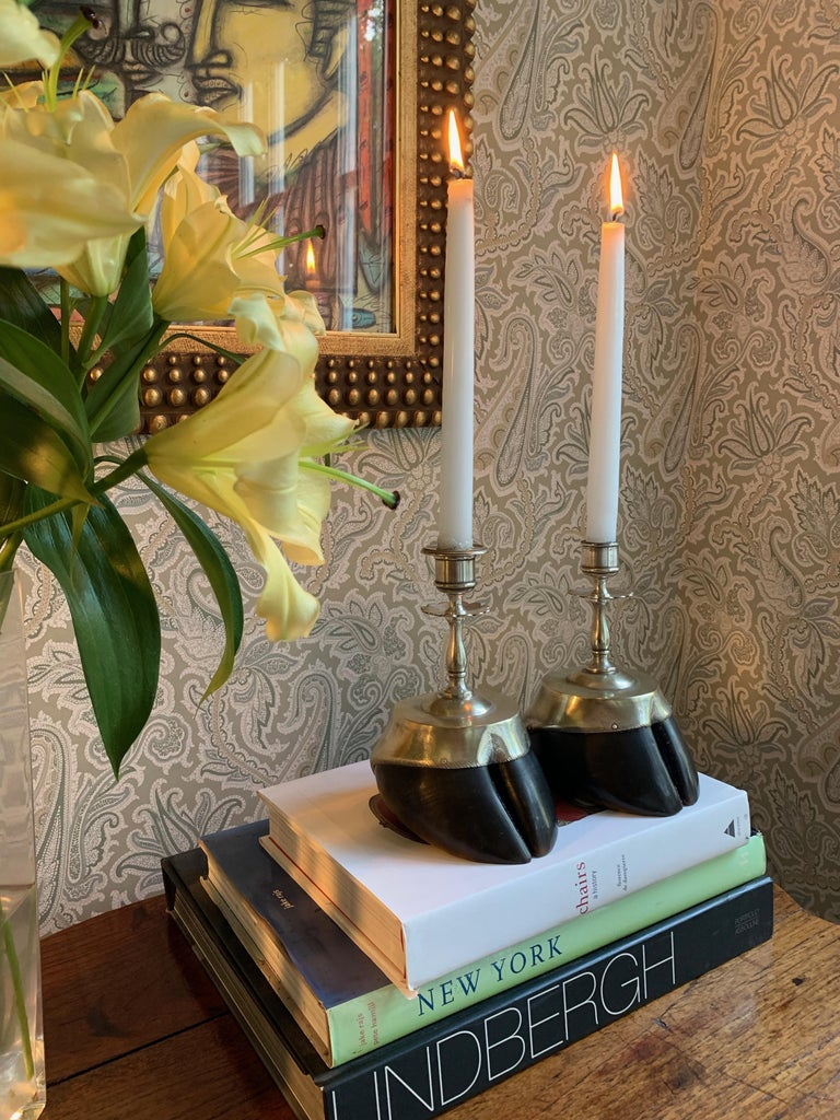 Pair of Animal Hoof Candlesticks In Good Condition For Sale In Los Angeles, CA