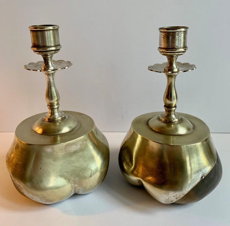 Silver Plate Pair of Animal Hoof Candlesticks For Sale