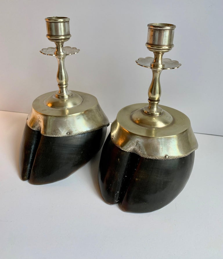 Pair of Animal Hoof Candlesticks For Sale 2