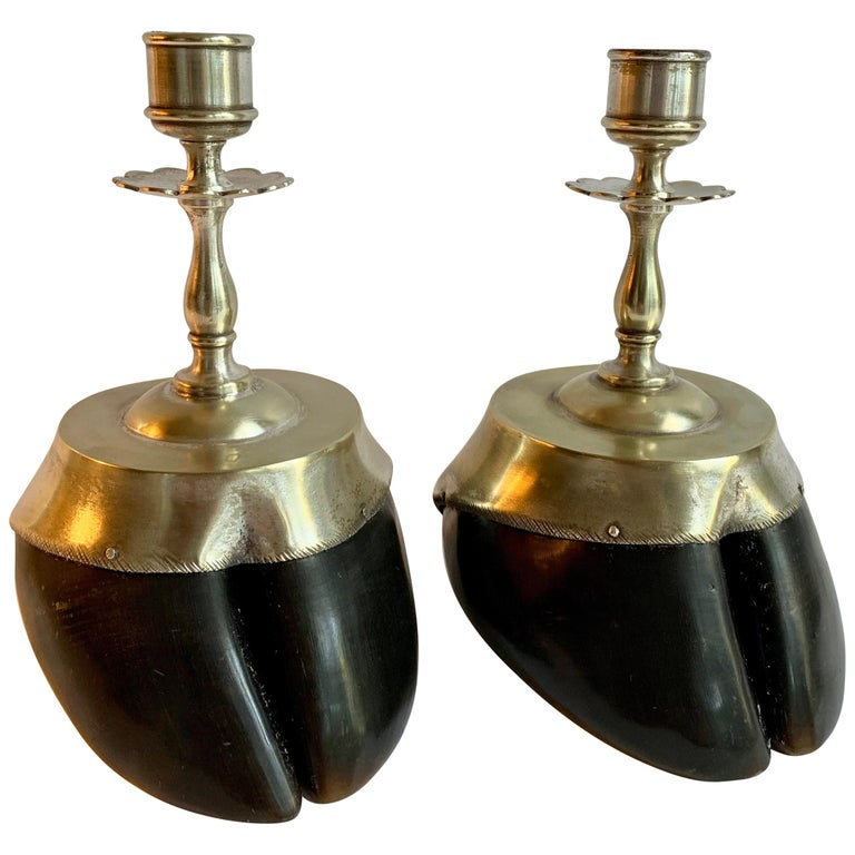 Pair of Animal Hoof Candlesticks For Sale