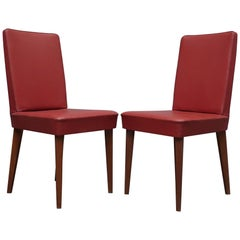 Pair of Anonima Castelli Bologna Red Leather Italian Midcentury Chair, 1960