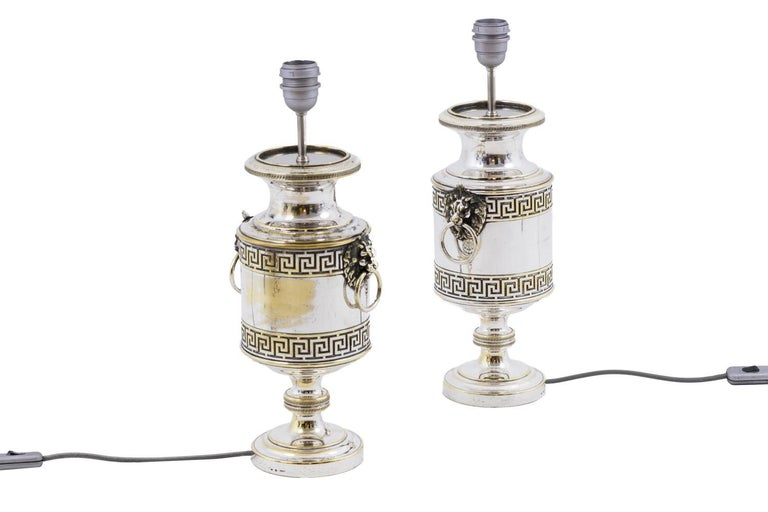 Neoclassical Pair of Antic Style Lamps in Silvered Metal, circa 1900 For Sale