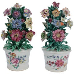 Pair of Antique 18th Century Bow Soft Paste Porcelain Flower Encrusted Cachepots