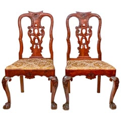 Pair of Antique 18th Century Queen Anne Mahogany Side Chairs