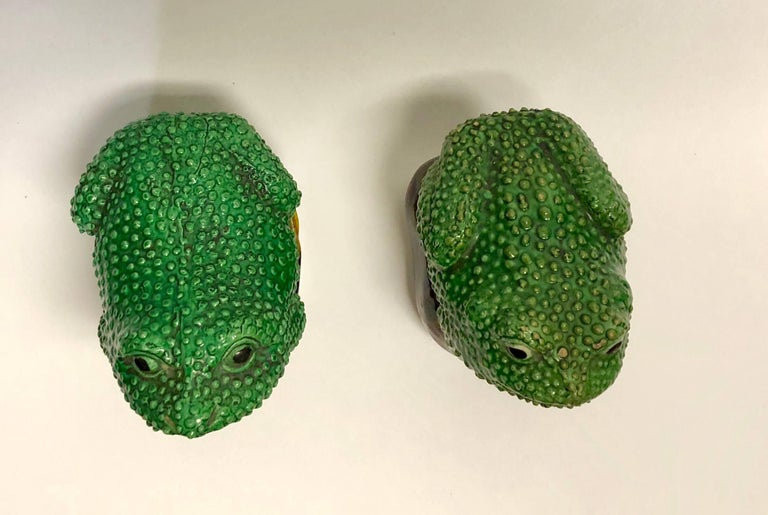 Ceramic Pair of 19th Century Chinese Porcelain Famille Verte Egg/Spinach Glazed Frogs For Sale