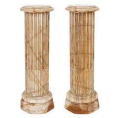 Pair of Antique 19th Century Alabaster Pedestals