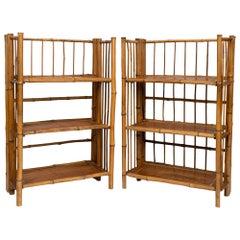Pair of Bamboo Folding Étagères Campaign Shelves