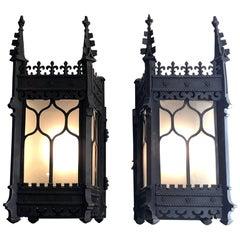 Pair of Antique 19th Century Bronze Lanterns