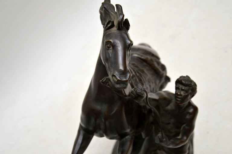 Pair of Antique 19th Century Bronze Sculptures by Guillaume Coustou For Sale 7