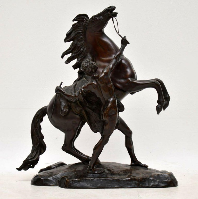 French Pair of Antique 19th Century Bronze Sculptures by Guillaume Coustou For Sale