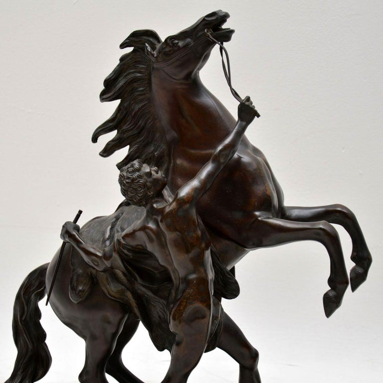 Mid-19th Century Pair of Antique 19th Century Bronze Sculptures by Guillaume Coustou For Sale