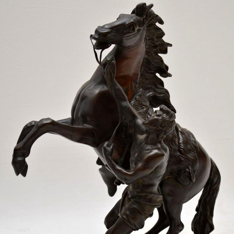 Pair of Antique 19th Century Bronze Sculptures by Guillaume Coustou For Sale 1