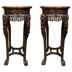 Pair of Antique 19th Century Carved Teak Stands with Marble Tops