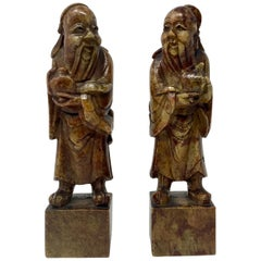 Pair of Antique 19th Century Chinese Carved Soap Stone of Ancient Figures
