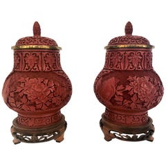 Pair of Antique 19th Century Chinese Cinnabar Urns