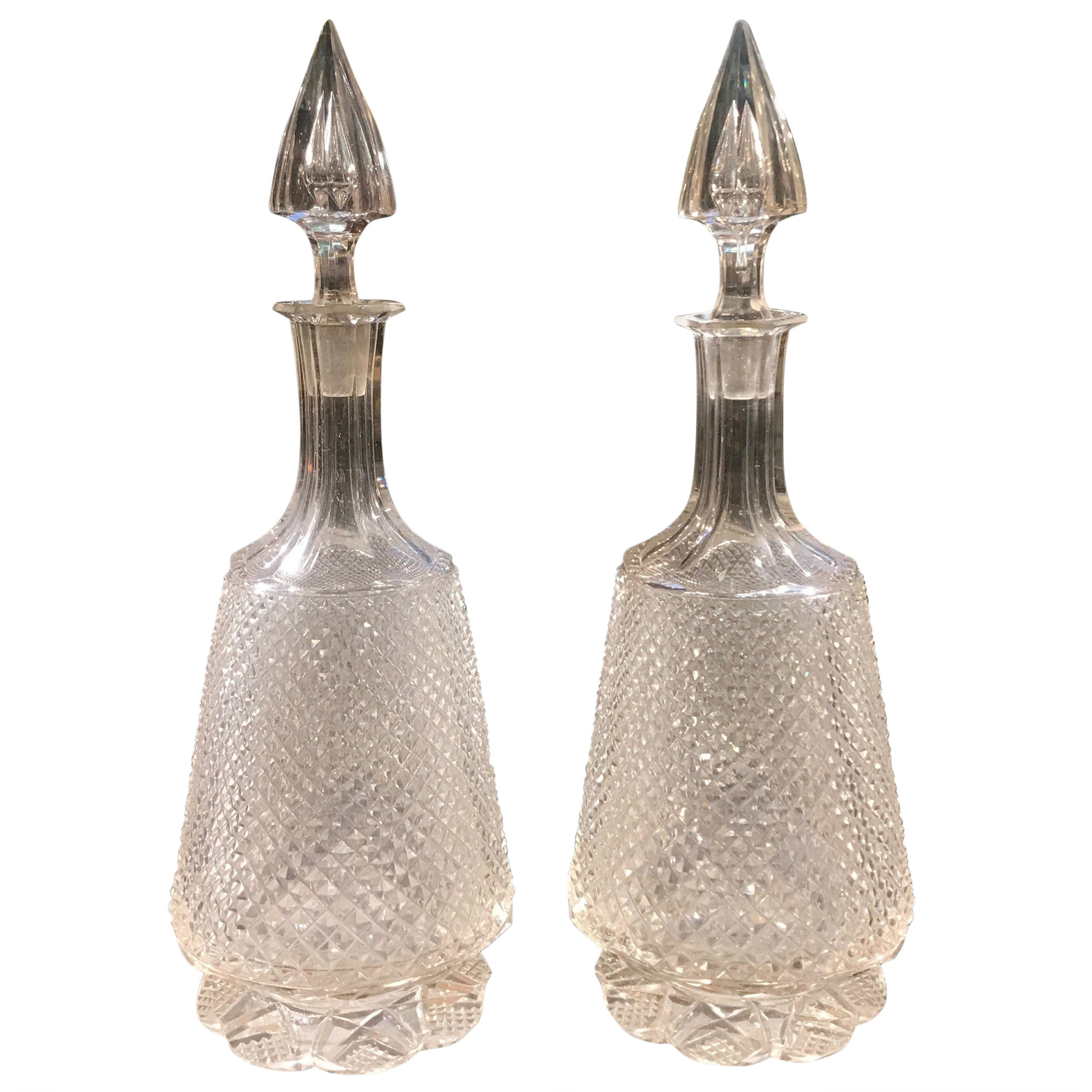 Pair of Antique 19th Century English Handcut Glass Decanters
