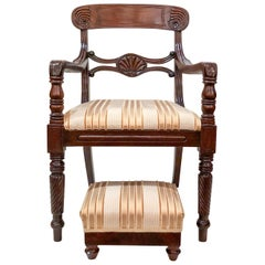 Pair of Antique 19th Century English Mahogany Armchairs and Foot Rests