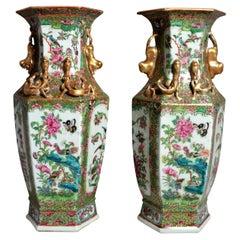 Pair of Antique 19th Century Famille Rose Vases