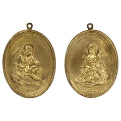 Pair of Antique 19th Century French Gilt Doré Bronze Plaques with Cupid