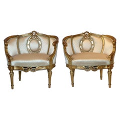 "Pair of Antique 19th Century French Louis XVI Gold ""Coseuses"" or Armchairs"