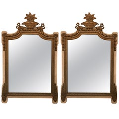 Pair of Antique 19th Century French Parcel-Gilt Mirrors