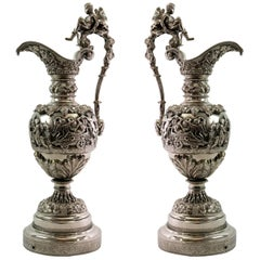 Pair of Antique 19th Century French Silver over Bronze Ewers