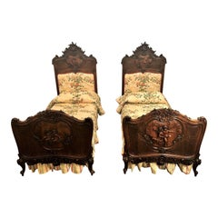 Pair of Antique 19th Century French Walnut Beds