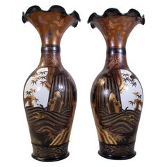 Pair of Antique 19th Century Japanese Porcelain Multicolored Lacquered Vases