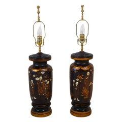 Pair of Antique 19th Century Japanese Shibayama Lamps