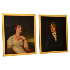 Pair of Antique 19th Century Oil Painting Portraits