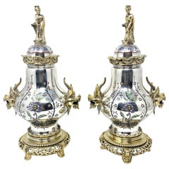 Pair of Antique 19th Century Silvered and Enameled Bronze Chinoiserie Urns