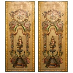 Pair of Antique 19th Century Tromp L'oeil Painted Panels
