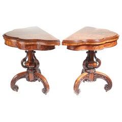 Pair of Antique 19th Century Victorian Burr Walnut Card Tables