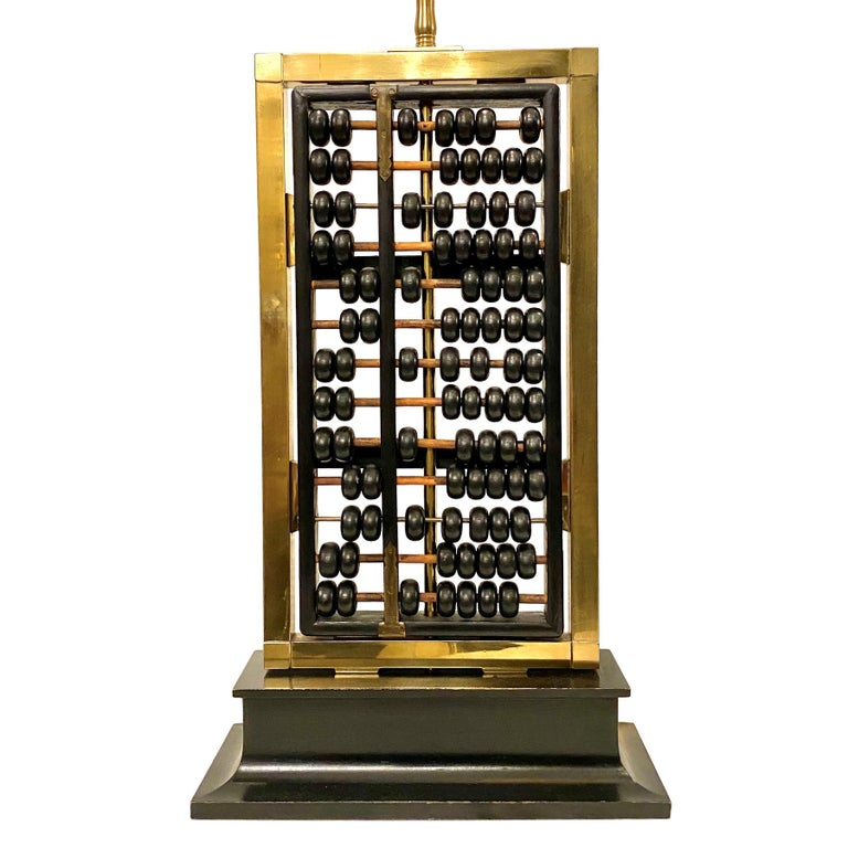 Pair of Antique Abacus Table Lamps In Good Condition For Sale In New York, NY