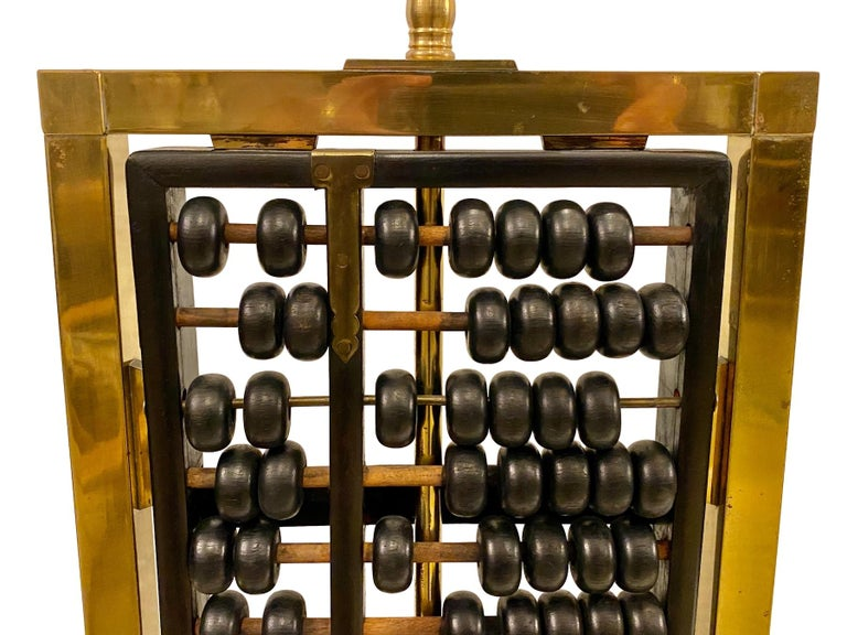 Brass Pair of Antique Abacus Table Lamps For Sale